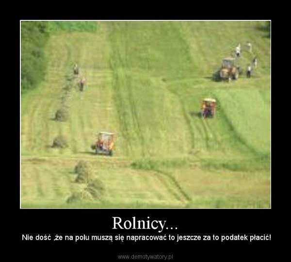 Rolnicy... – Nie dość ,że na polu muszą się napracować to jeszcze za to podatek płacić!