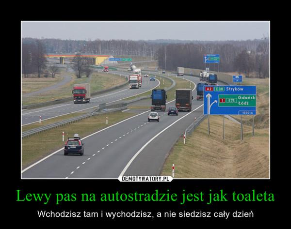 Lewy pas na autostradzie jest jak toaleta – Wchodzisz tam i wychodzisz, a nie siedzisz cały dzień