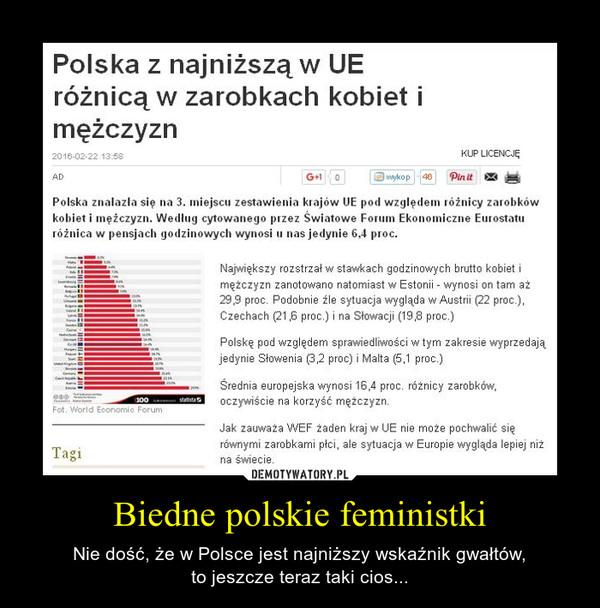 Biedne polskie feministki – Nie dość, że w Polsce jest najniższy wskaźnik gwałtów,to jeszcze teraz taki cios...