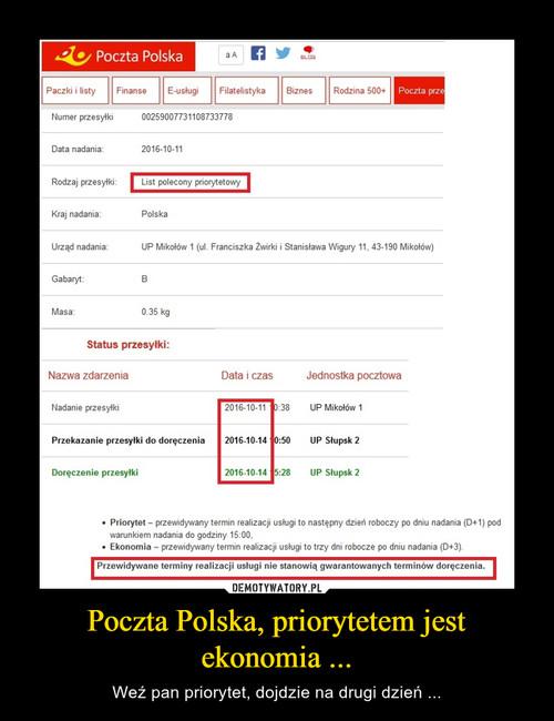 Poczta Polska, priorytetem jest ekonomia ...