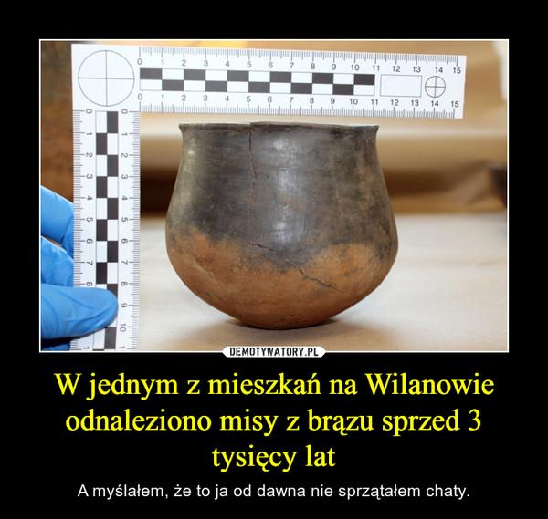 W jednym z mieszkań na Wilanowie odnaleziono misy z brązu sprzed 3 tysięcy lat – A myślałem, że to ja od dawna nie sprzątałem chaty.