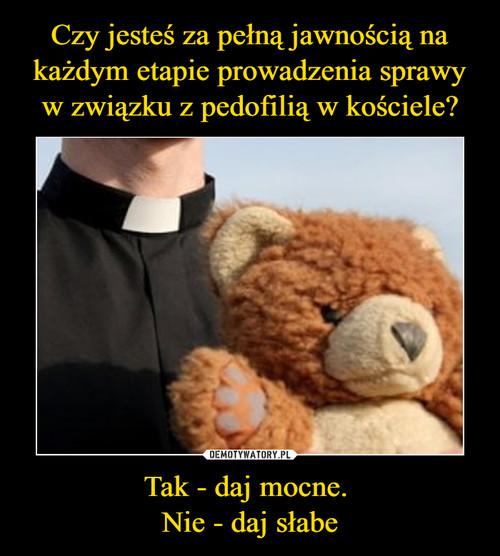 Czy jesteś za pełną jawnością na każdym etapie prowadzenia sprawy w związku z pedofilią w kościele? Tak - daj mocne.  Nie - daj słabe