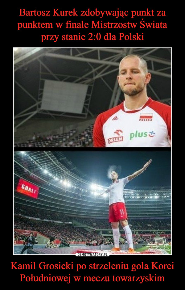 Kamil Grosicki po strzeleniu gola Korei Południowej w meczu towarzyskim –