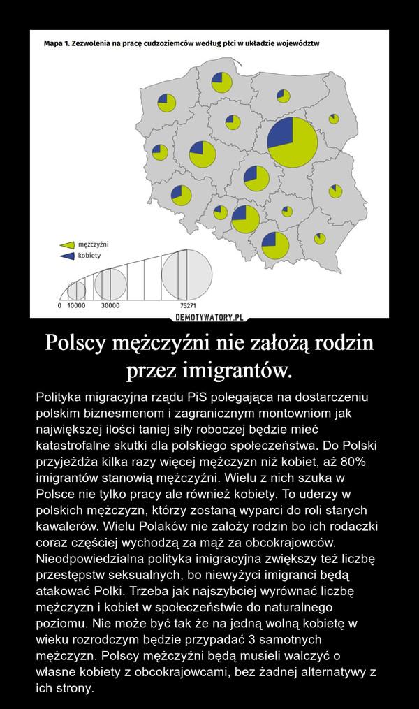 Polscy mężczyźni nie założą rodzin przez imigrantów. – Polityka migracyjna rządu PiS polegająca na dostarczeniu polskim biznesmenom i zagranicznym montowniom jak największej ilości taniej siły roboczej będzie mieć katastrofalne skutki dla polskiego społeczeństwa. Do Polski przyjeżdża kilka razy więcej mężczyzn niż kobiet, aż 80% imigrantów stanowią mężczyźni. Wielu z nich szuka w Polsce nie tylko pracy ale również kobiety. To uderzy w polskich mężczyzn, którzy zostaną wyparci do roli starych kawalerów. Wielu Polaków nie założy rodzin bo ich rodaczki coraz częściej wychodzą za mąż za obcokrajowców. Nieodpowiedzialna polityka imigracyjna zwiększy też liczbę przestępstw seksualnych, bo niewyżyci imigranci będą atakować Polki. Trzeba jak najszybciej wyrównać liczbę mężczyzn i kobiet w społeczeństwie do naturalnego poziomu. Nie może być tak że na jedną wolną kobietę w wieku rozrodczym będzie przypadać 3 samotnych mężczyzn. Polscy mężczyźni będą musieli walczyć o własne kobiety z obcokrajowcami, bez żadnej alternatywy z ich strony.