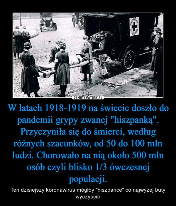 """W latach 1918-1919 na świecie doszło do pandemii grypy zwanej """"hiszpanką"""". Przyczyniła się do śmierci, według różnych szacunków, od 50 do 100 mln ludzi. Chorowało na nią około 500 mln osób czyli blisko 1/3 ówczesnej populacji. – Ten dzisiejszy koronawirus mógłby """"hiszpance"""" co najwyżej buty wyczyścić"""