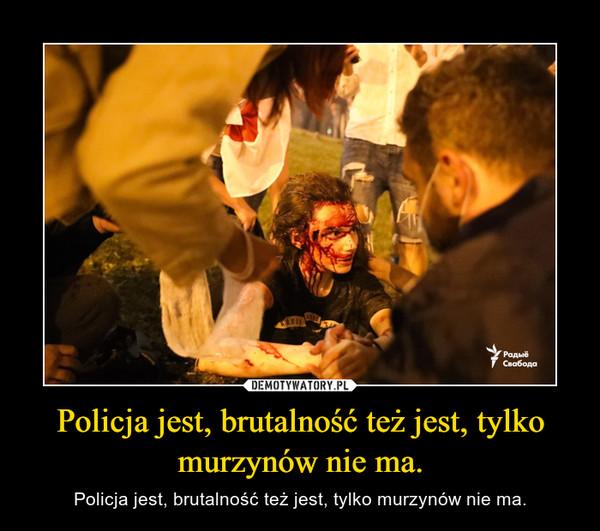 Policja jest, brutalność też jest, tylko murzynów nie ma. – Policja jest, brutalność też jest, tylko murzynów nie ma.