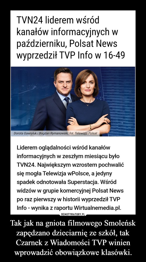 Tak jak na gniota filmowego Smoleńsk zapędzano dzieciarnię ze szkół, tak Czarnek z Wiadomości TVP winien wprowadzić obowiązkowe klasówki. –