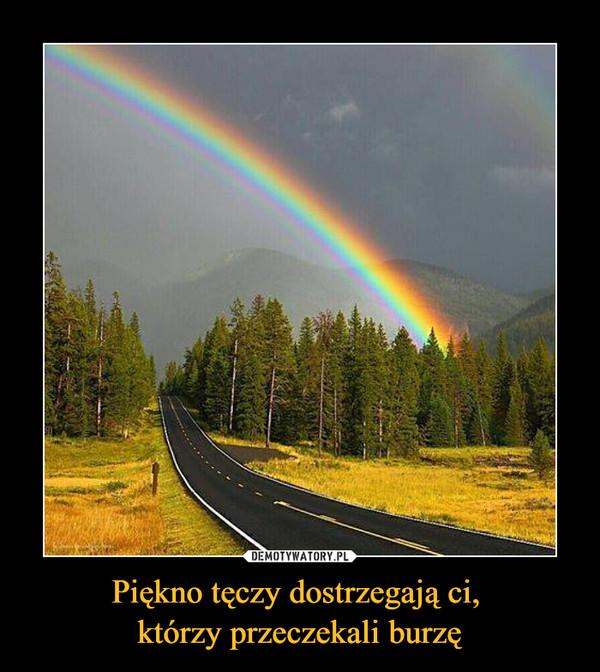 Piękno tęczy dostrzegają ci, którzy przeczekali burzę –