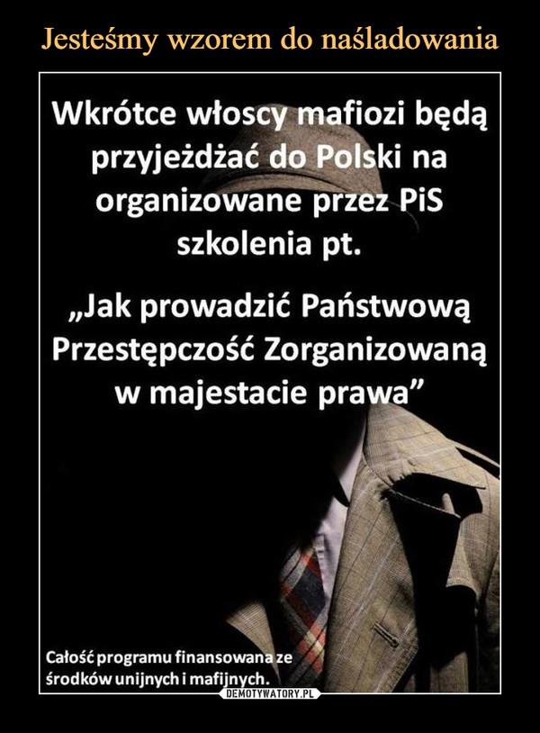 """–  Wkrótce włoscy mafiozi będąprzyjeżdżać do Polski naorganizowane przez PiSszkolenia pt.""""Jak prowadzić PaństwowąPrzestępczość Zorganizowanąw majestacie prawa""""Całość programu finansowana ześrodków unijnych i mafijnych."""