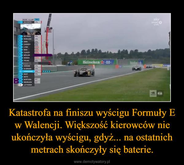 Katastrofa na finiszu wyścigu Formuły E w Walencji. Większość kierowców nie ukończyła wyścigu, gdyż... na ostatnich metrach skończyły się baterie. –