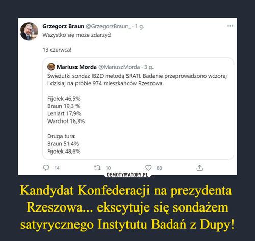 Kandydat Konfederacji na prezydenta  Rzeszowa... ekscytuje się sondażem satyrycznego Instytutu Badań z Dupy!