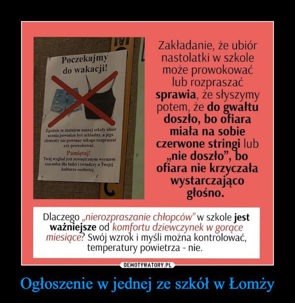 Ogłoszenie w jednej ze szkół w Łomży –