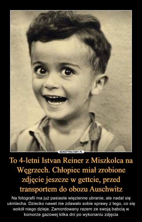 To 4-letni Istvan Reiner z Miszkolca na Węgrzech. Chłopiec miał zrobione zdjęcie jeszcze w gettcie, przed transportem do obozu Auschwitz